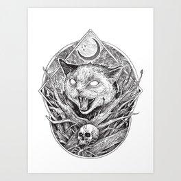 Wild cat b/w Art Print