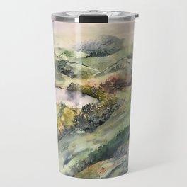 Green terrain watercolor art Travel Mug