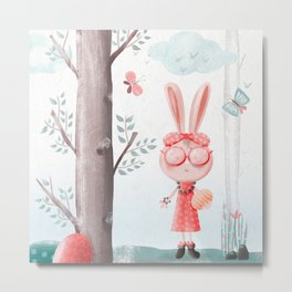 A Girl Bunny Metal Print