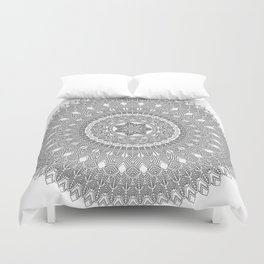 Black and White Feather Mandala Boho Hippie Duvet Cover