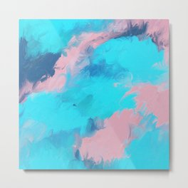 Modern abstract teal pink paint brushstrokes  Metal Print