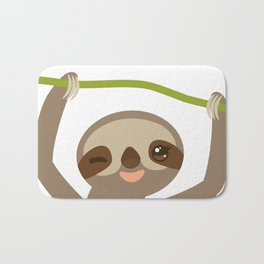 funny and cute smiling Three-toed sloth on green branch 2 Bath Mat