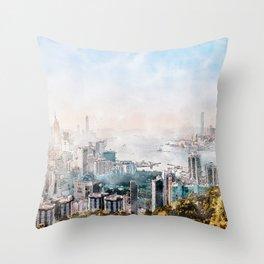 Hong Kong City skyline painting / drawing/ Illustration Throw Pillow