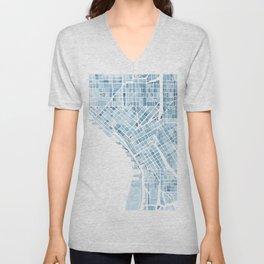 Map Seattle Washington Blueprint watercolor map Unisex V-Neck