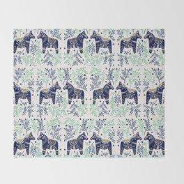 Swedish Dala Horse – Navy & Mint Palette Throw Blanket