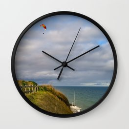 Paragliding on the Norfolk coast Wall Clock