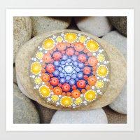 Orange mandala on river stone Art Print
