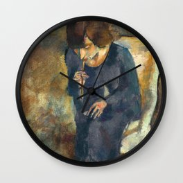 Jules Pascin - Hermine with Cigarette Holder - Hermine au Fume-Cigarette Wall Clock