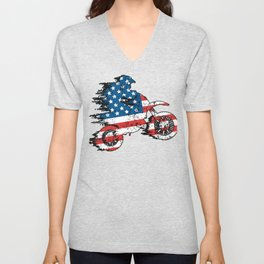 Dirt Bike American Flag Unisex V-Neck