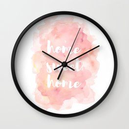 'Home Sweet Home' Typography Pinks Watercolour Wall Clock