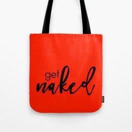 Get Naked // Black on Red Tote Bag