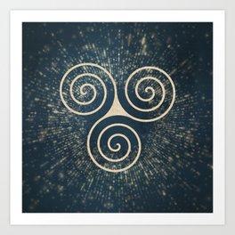 Triskelion Golden Three Spiral Celtic Symbol Art Print