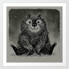 Bear In The Night Snow Art Print