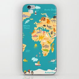 Animal map for kid. World vector poster for children, cute illustrated iPhone Skin