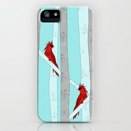 Holiday Forest Cardinals Design iPhone Case