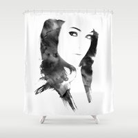 poetry Shower Curtains featuring POETRY by Andrea De Amicis aka CONETTO