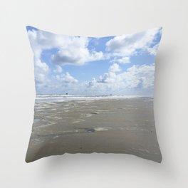 Cloudy seascape panorama Throw Pillow