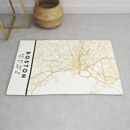 BOSTON MASSACHUSETTS CITY STREET MAP ART Rug