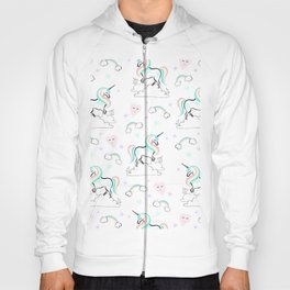 Standing tall Unicorn on cloud and heart pattern Hoody
