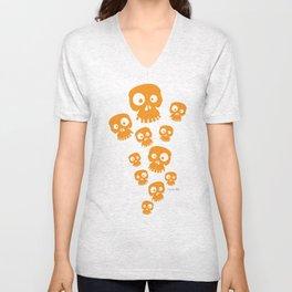 Fun Skulls - orange Unisex V-Neck