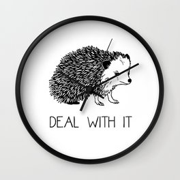 Deal With It Hedgehog Wall Clock