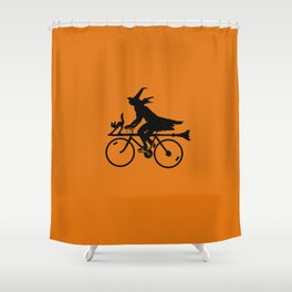 Witch on a Bicycle Shower Curtain