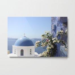 Santorini Blue Dome Metal Print