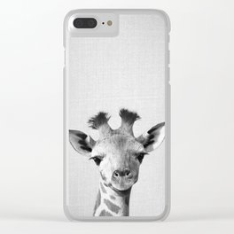 Baby Giraffe - Black & White Clear iPhone Case