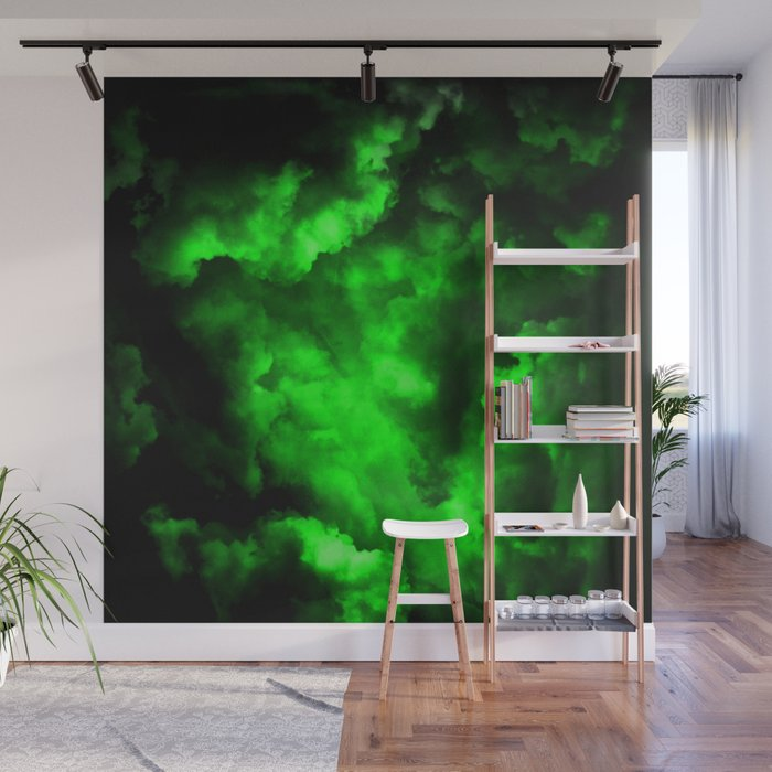Envy - Abstract In Black And Neon Green Wall Mural