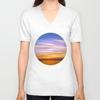 georgia V-neck T-shirts featuring Georgia Sunset by Amy Rowland