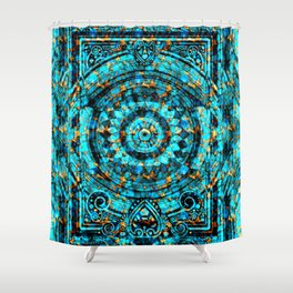Inner Deck Gold and Turquoise Shower Curtain