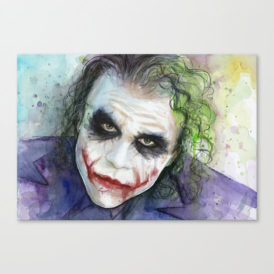The Joker Watercolor Canvas Print