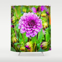LILAC PURPLE DAHLIA FLOWERS & BUDS Shower Curtain