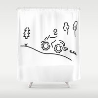 moto Shower Curtains featuring motorcycle sport offroad moto cross by Lineamentum