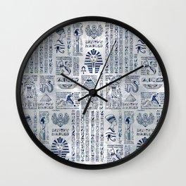 Egyptian hieroglyphs and deities abalone on pearl Wall Clock