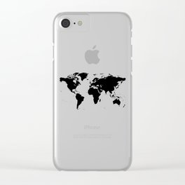 Black Ink World Map Clear iPhone Case