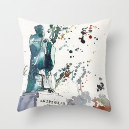 20141129 Chinese Garden Confucius Statue Throw Pillow