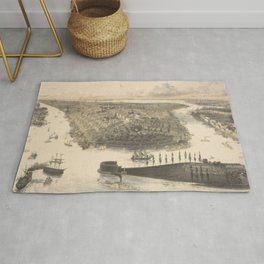 Vintage Pictorial Map of New York City (1855) Rug