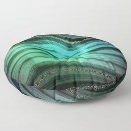 Gold Indigo Malachite Marble Waves Floor Pillow