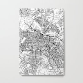 Amsterdam White Map Metal Print