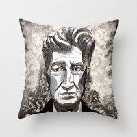 david lynch Throw Pillows featuring David Lynch by Emma Ridgway