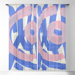 Tribal Pink Blue Fun Colorful Mid Century Modern Abstract Painting Shapes Pattern Sheer Curtain