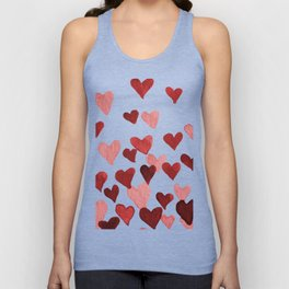 Valentine's Day Watercolor Hearts - red Unisex Tanktop