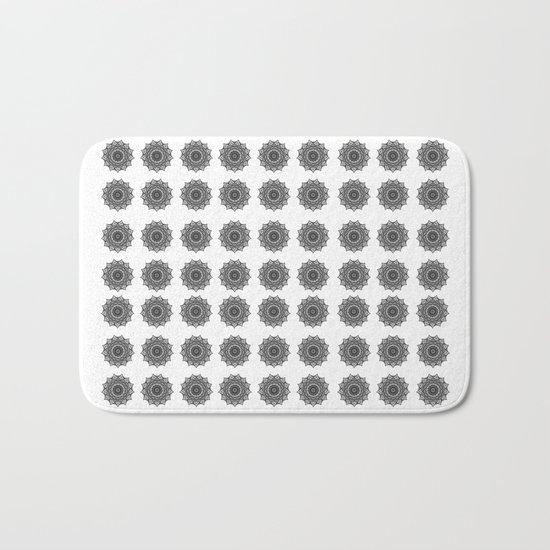 Black and White Mandala   Secret Geometry Bath Mat