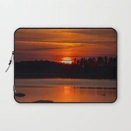 Beautiful Sunset with Strong Orange Color #decor #society6 #buyart Laptop Sleeve