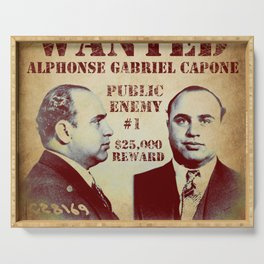 Al Capone FBI Wanted Poster Serving Tray