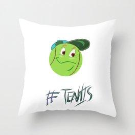 Tennis ball smiley Throw Pillow