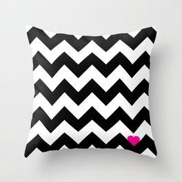Heart & Chevron - Black/Pink Throw Pillow