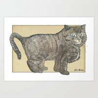 furry Art Prints featuring Furry Cat by Felis Simha