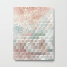 Distressed Cube Pattern - Nude, turquoise and seashell Metal Print